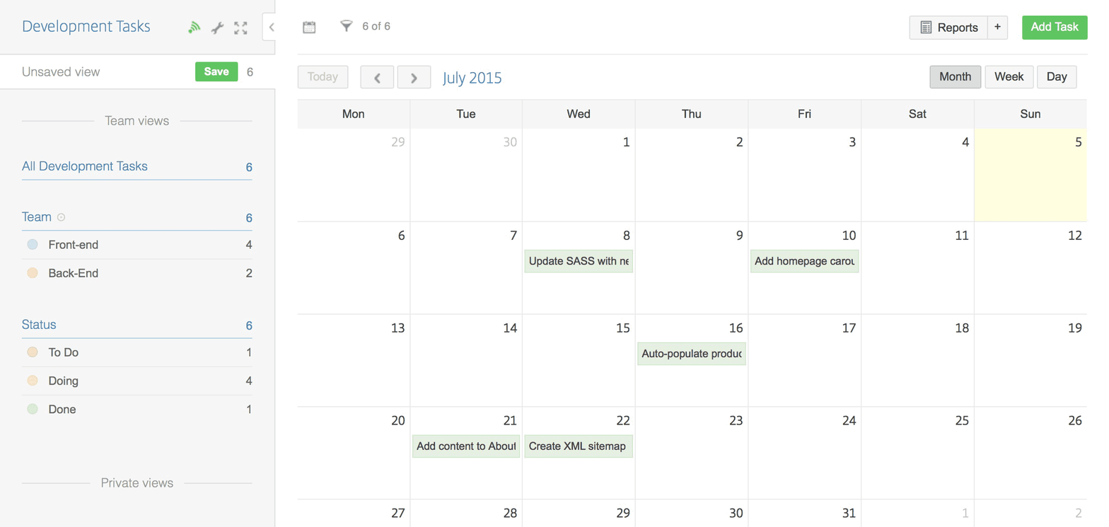 Image showing the calendar view of an app with due dates that lets you assign tasks to specific days