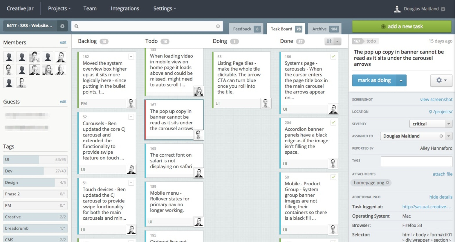 Bugherd uses a 'kanban-style' task board. The UI is approachable and well-designed.