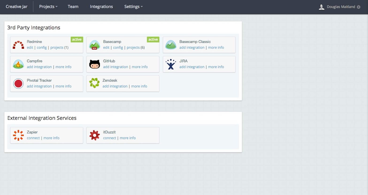 Screenshot showing the integrations available with BugHerd, including Redmine, Basecamp, Campfire, GitHub, JIRA, Pivotal Tracker and ZenDesk.