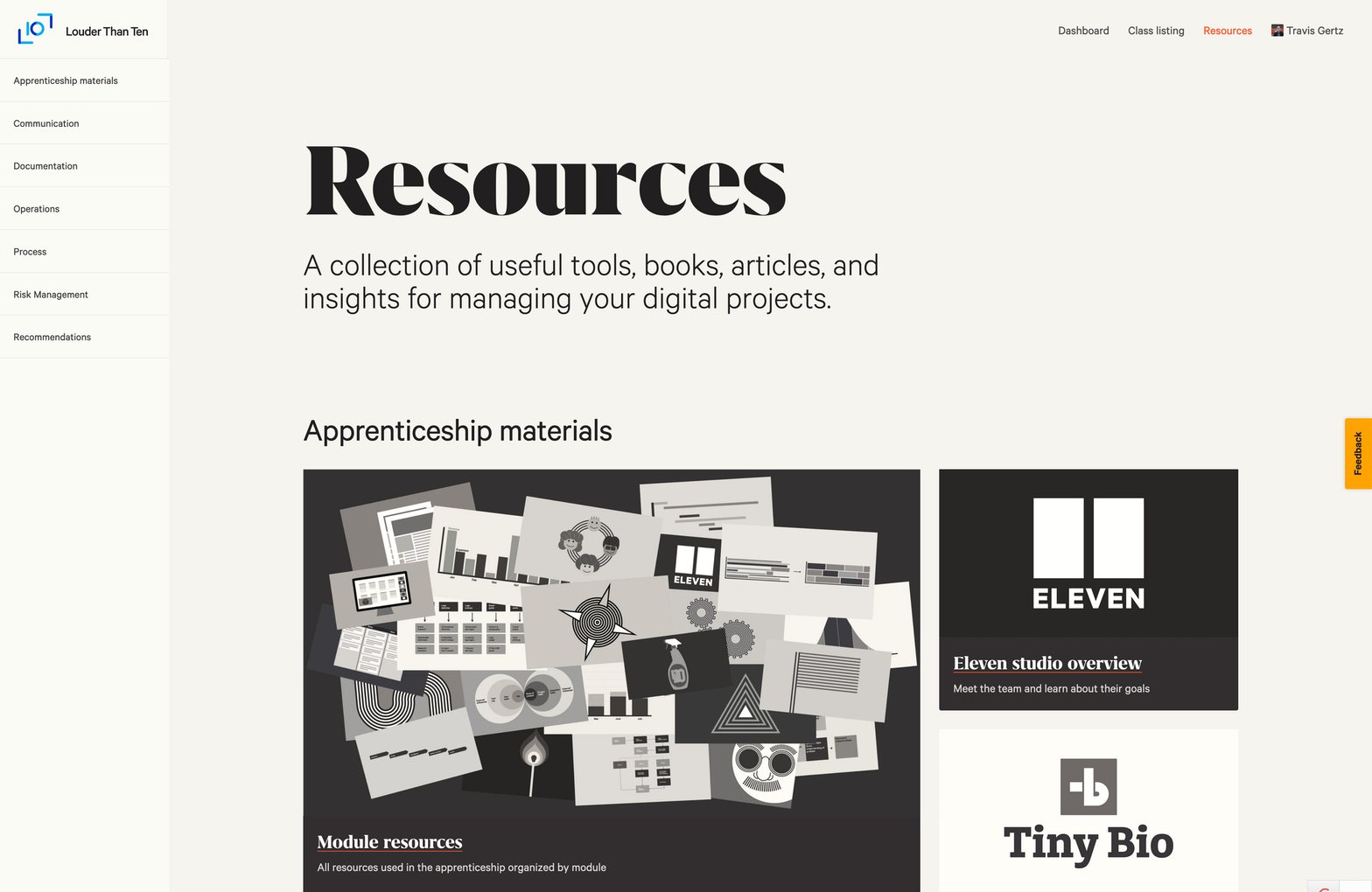 A screenshot of our Resources page