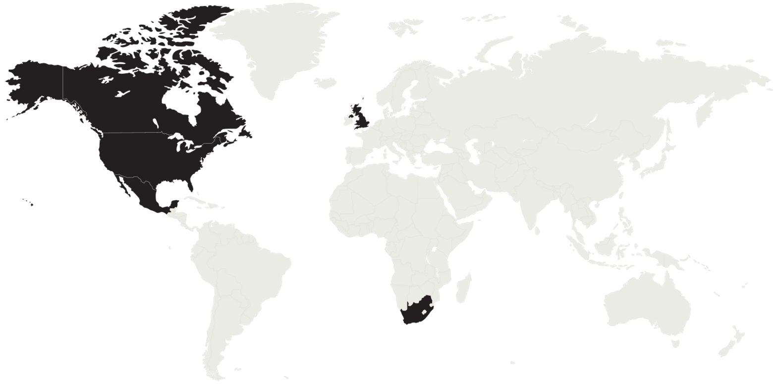 World map with Canada, USA, Mexico, South Africa, and the UK highlighted