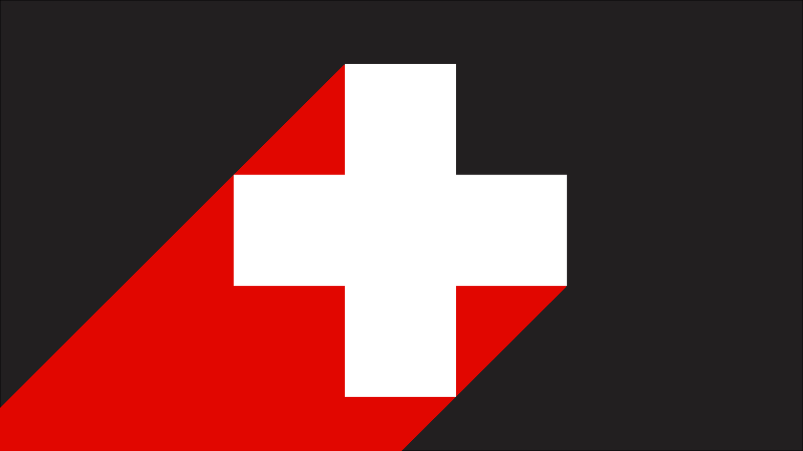 A red cross on a black background