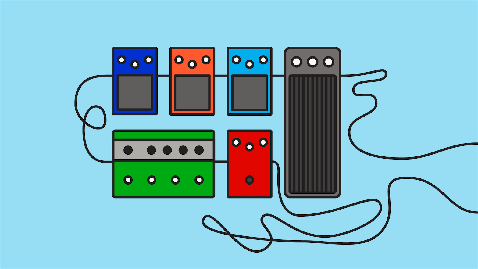 A series of guitar pedals connected with a cable