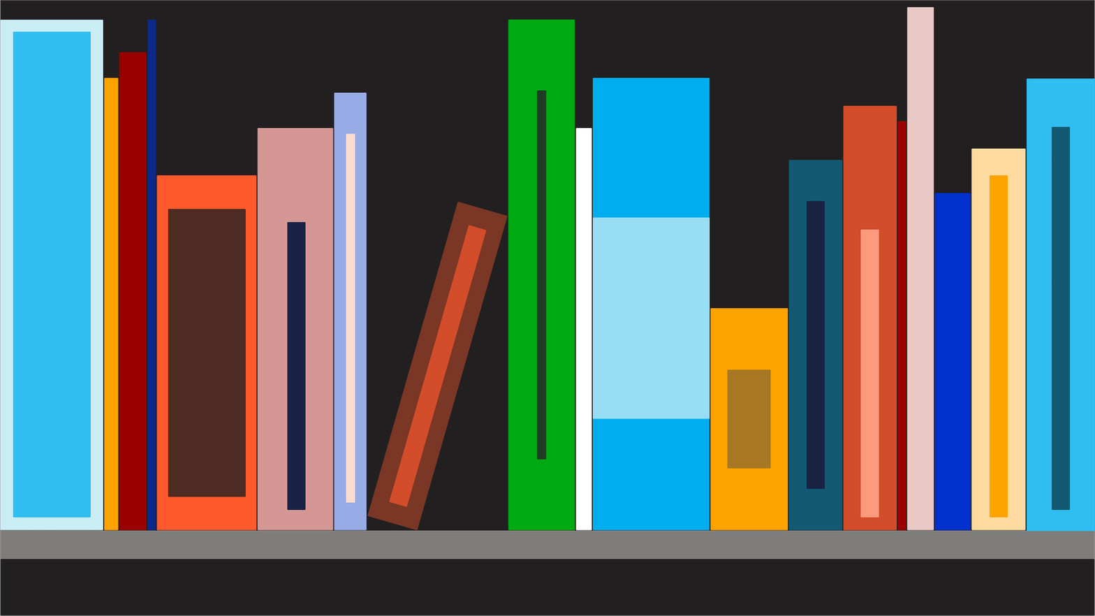 Illustration of a shelf with books on it