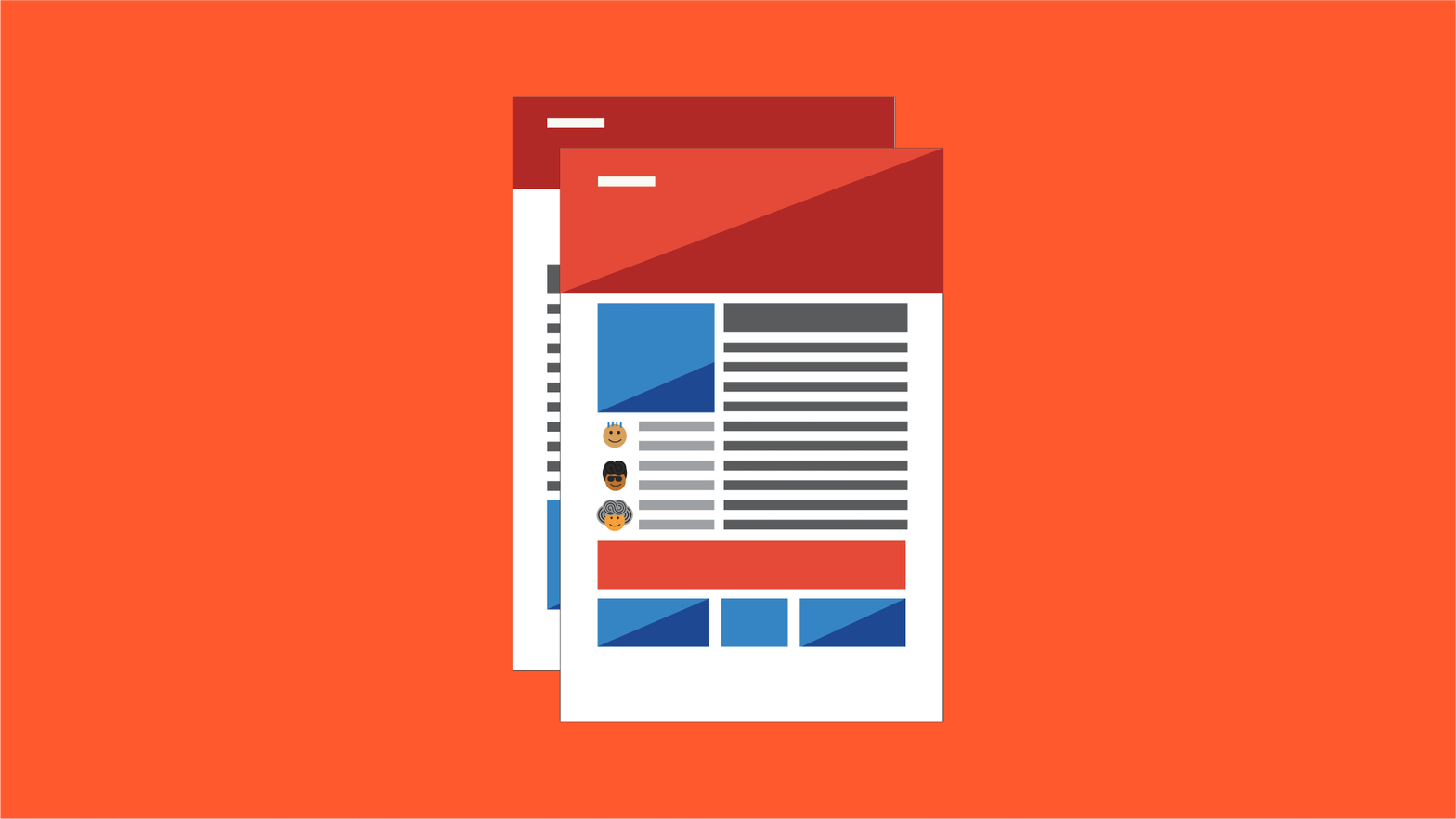 Illustration of two websites layered