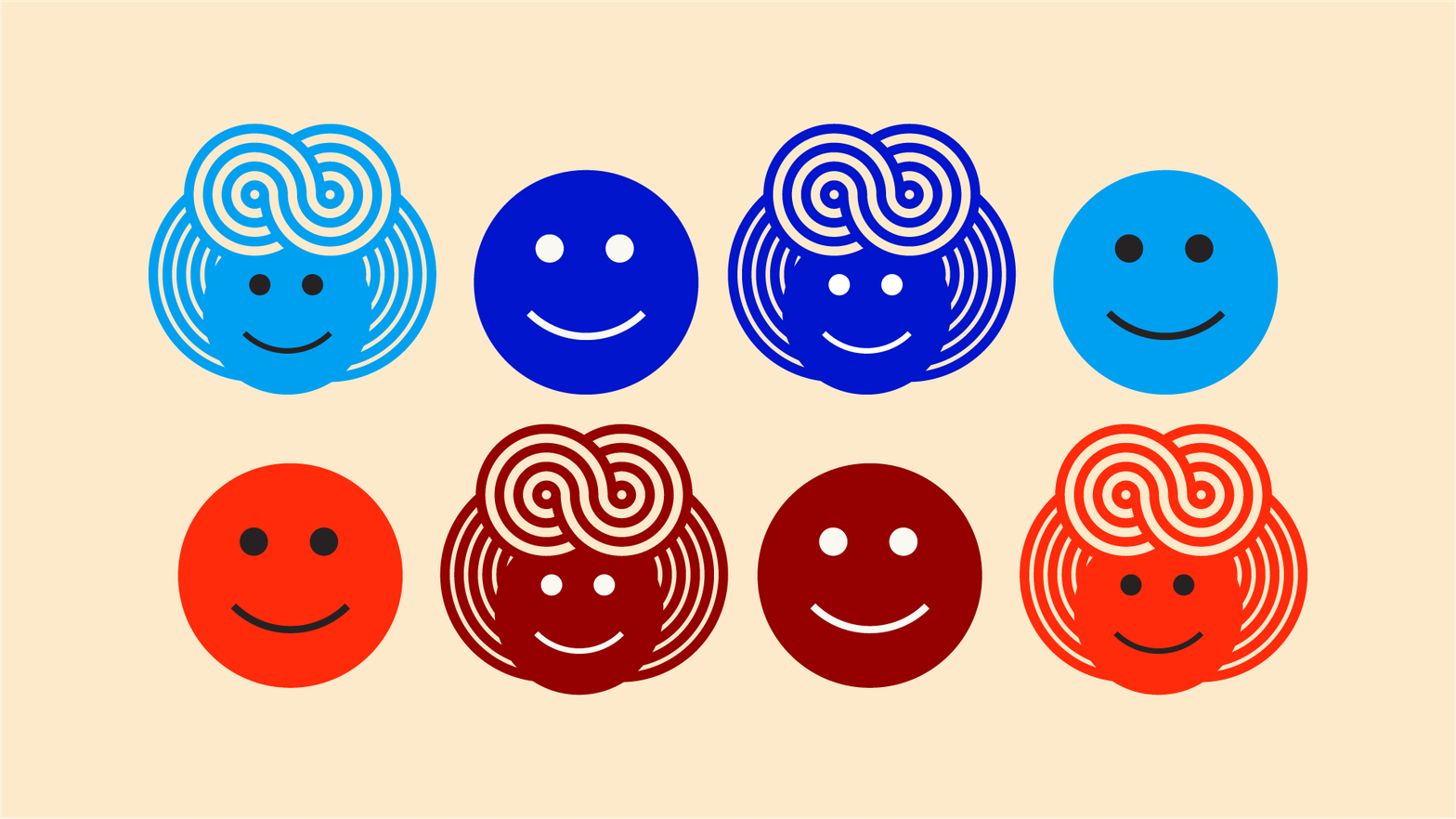 Illustration of different coloured faces