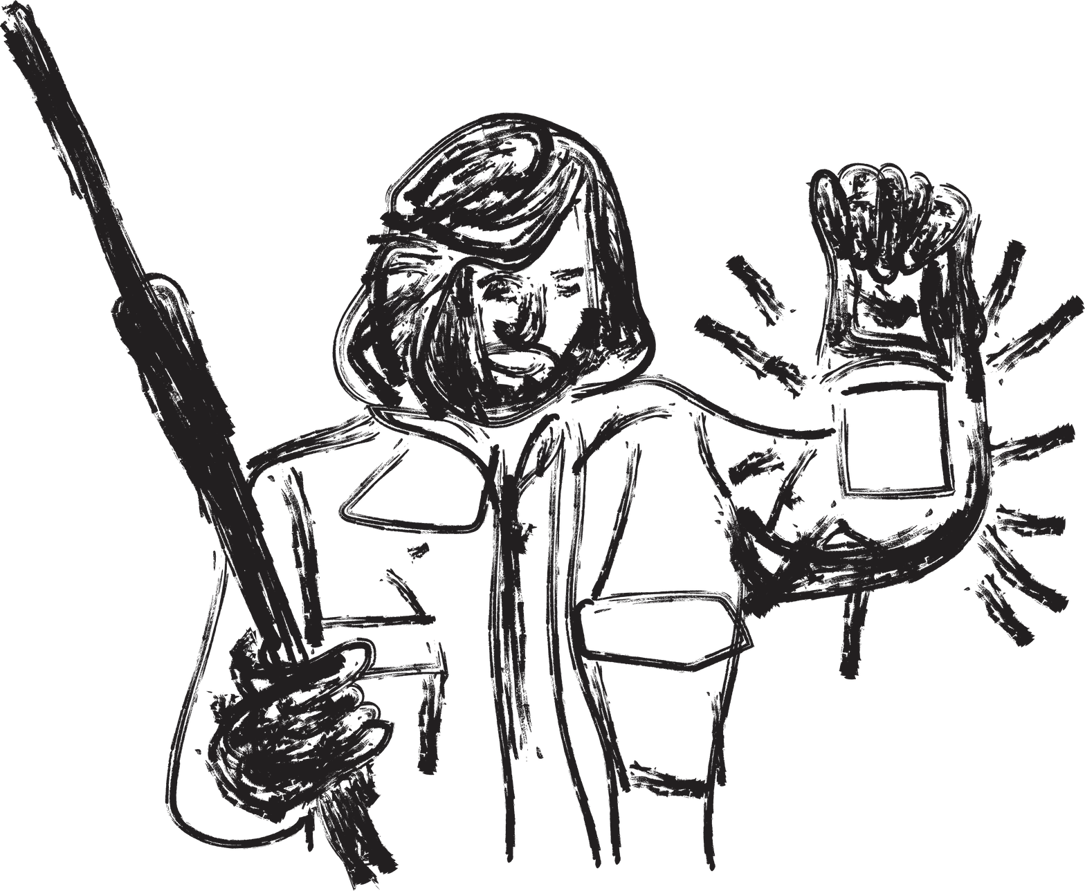 An artistic interpretation of MacReady from The Thing (1982) holding a latern and a rifle.