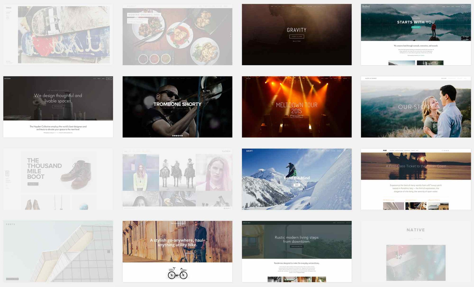 A list of Squarespace templates